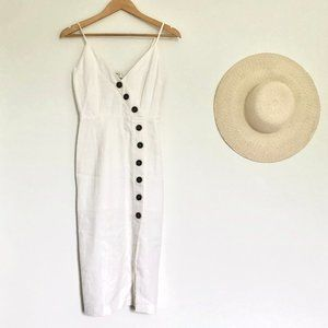 White Button up Linen Midi Dress XS ☼